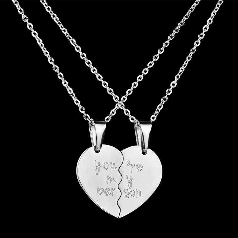 la mejor actitud reunirse vanguardia de los tiempos GS dos mitades corazón colgantes collares para pareja joyería negro plata  oro cadena larga para amantes novia nuevos regalos r5F