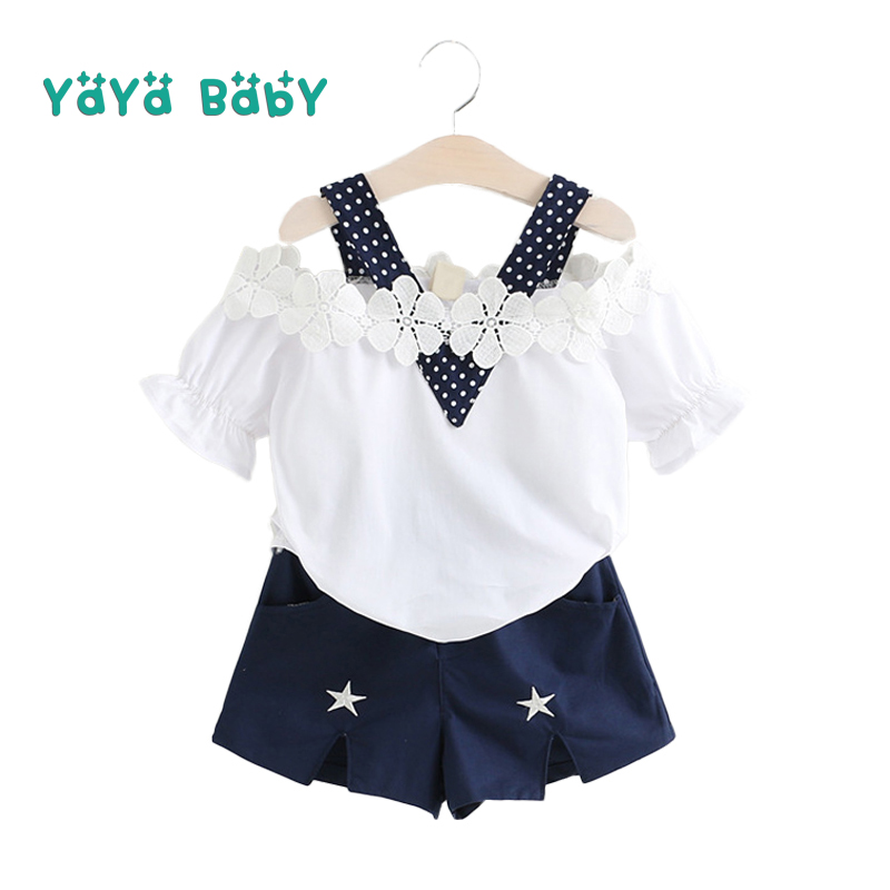 2 3 4 5 6 7 Year Girls Clothes 2018 New Summer Casual Baby Children Clothing Set Flower Shirts Shorts Kids Suits for Girls 2018 new big girls clothing sets summer t shirts tops shorts suits 2 pieces kids clothes baby clothing sets 6 8 10 12 14 year