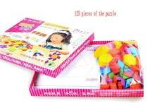 Бесплатная доставка деревянный 125 шт головоломки головоломки игрушка, дети Фребеля учебные ПОСОБИЯ/Игрушки Рано Head Start Обучение