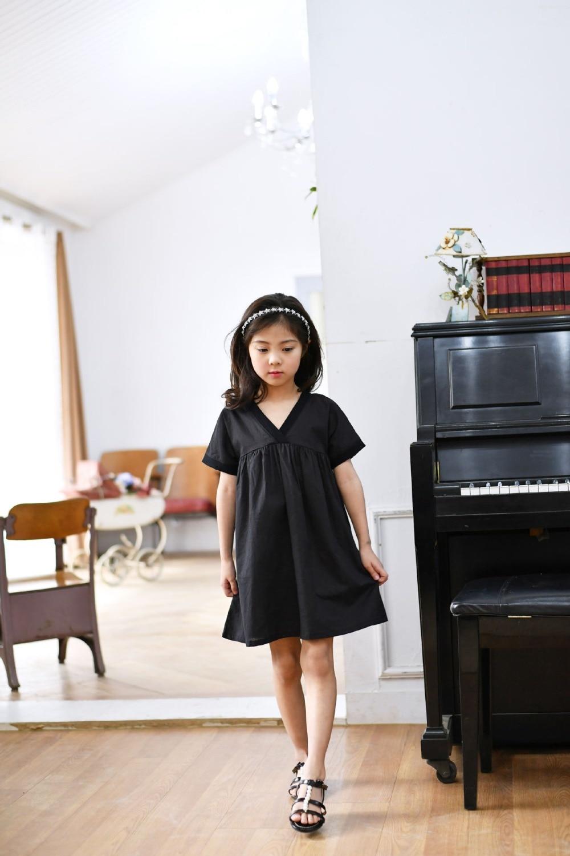 e8f6cc982a Nastolatek dziewczyny krótkie czarne luźne duże rozmiary sukienka ...