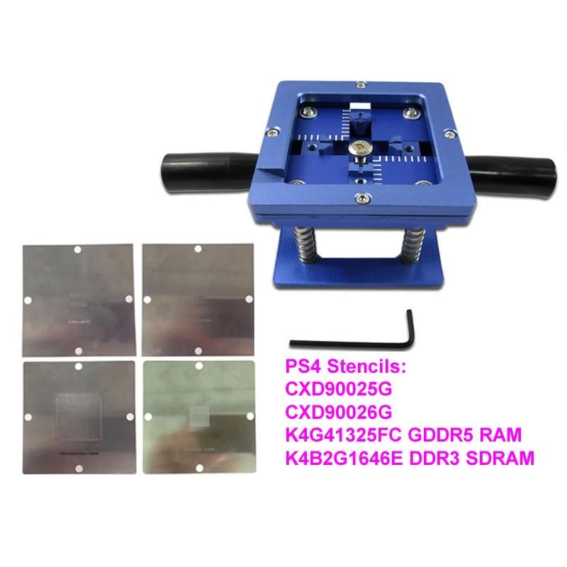 4pcs/set 90mm*90mm PS4 Stencils CXD90025G CXD90026G K4G41325FC GDDR5 RAM K4B2G1646E DDR3 SDRAM 90mm BGA Reballing Station