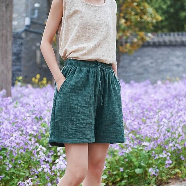 Johnature New Style Casual Cotton Linen Women Shorts 2021 Summer New Solid Elastic Waist Women Shorts Wide Leg Shorts 2