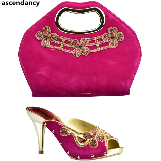 Fuchsia Color Shoes and Bag Set African Sets 2018 Italian Ladies Shoes and  Bag To Match 440f5ef7da17