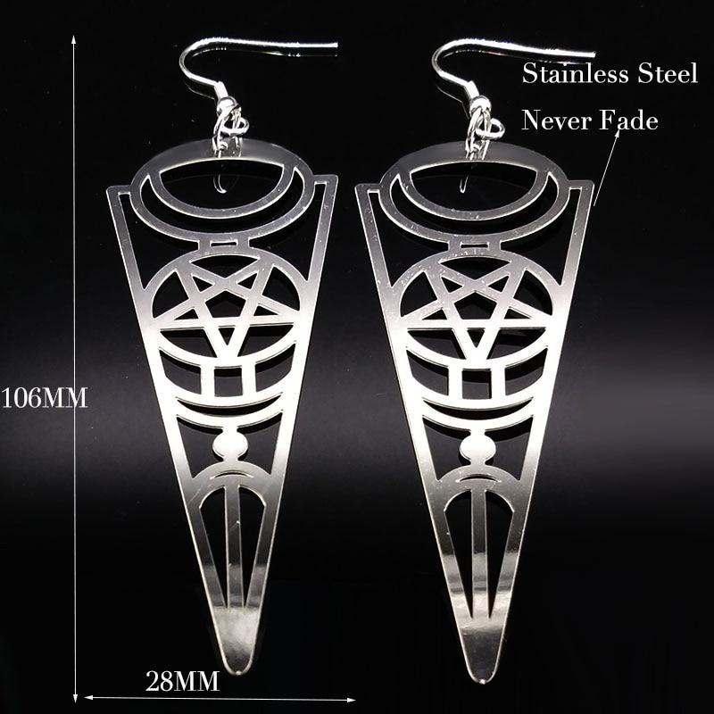 19 Pentagram Stainless Steel Earrings Women Jewelry Geometry Silver Color Earrings Jewelry boucle d'oreille longue E612363 4