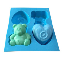 цена на Bear Love Heart Shaped Silicone Mold Soap Molds Handmade Chocolate Cake Sugar Candy Biscuit Jelly Ice Mould Pastry Baking Tools
