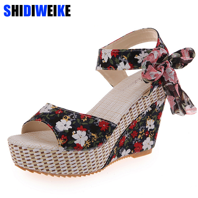 New Arrival Ladies Shoes Women Sandals Summer Open Toe Fish Head Fashion Platform High Heels Wedge Sandals Female Shoes Women 2016 spring new european and american fashion shoes thick with fish head shoes nightclub new ultra high heels sandals b454