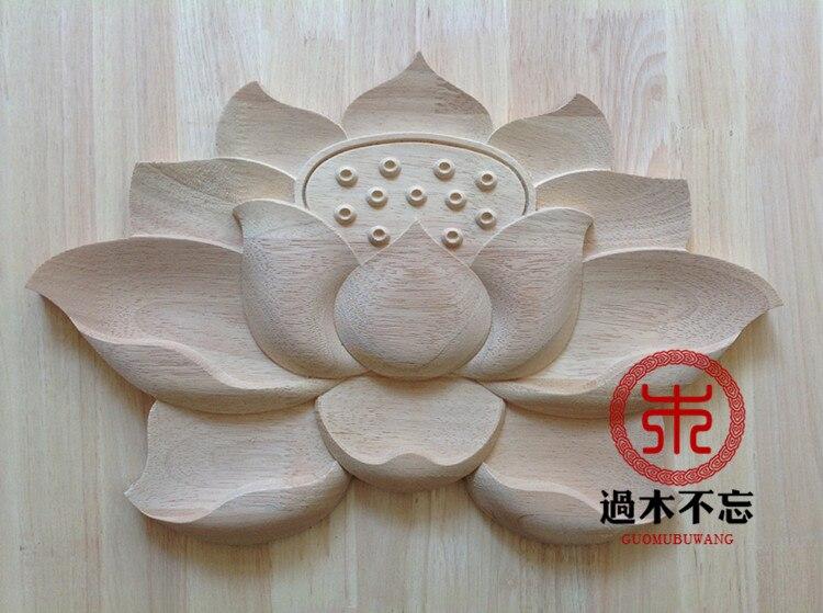 Nezapomeňte na dřevěnou dřevořezbu lotosového rybníka Dongyang lotus Window Decal Decals door záhon
