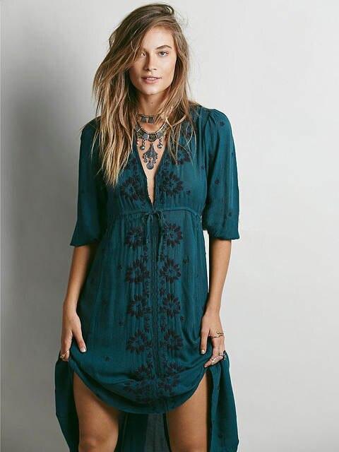 961eb47639 Cotton Linen boho dress Women Bohemian Long Dress Summer Deep V-Neck Sexy  Embroidery People