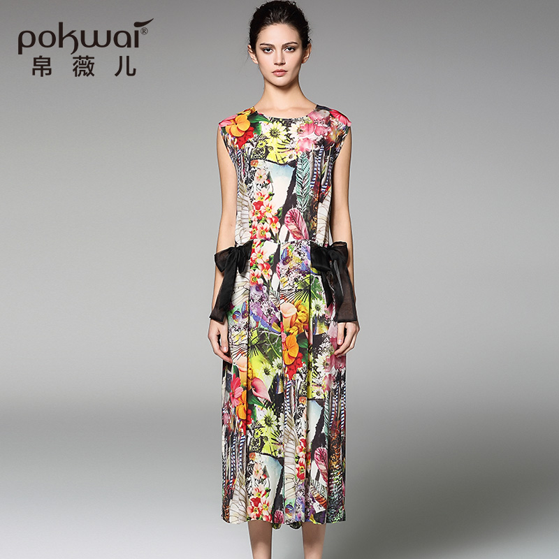 POKWAI Bohemian Summer Silk Jumpsuits Floral Print Sashes Chiffon Ankle-Length Pants Chiffon Britches drawstring floral casual ankle length pants