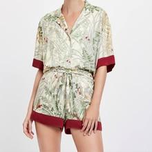 Verão impressão de manga curta shorts pijamas meia turn down collar cetim loungewear feminino pijamas lingerie sexy casa conjunto