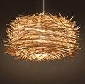 Современные Птичье гнездо ручной Плетеный ротанговый подвесной светильник сад ресторан балкон спальня освещение прохода