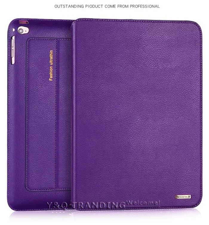 Ultrathin Cowhide Genuine Leather Case for Apple iPad Real Leather Business Stand Smart Cover for iPad  (3)