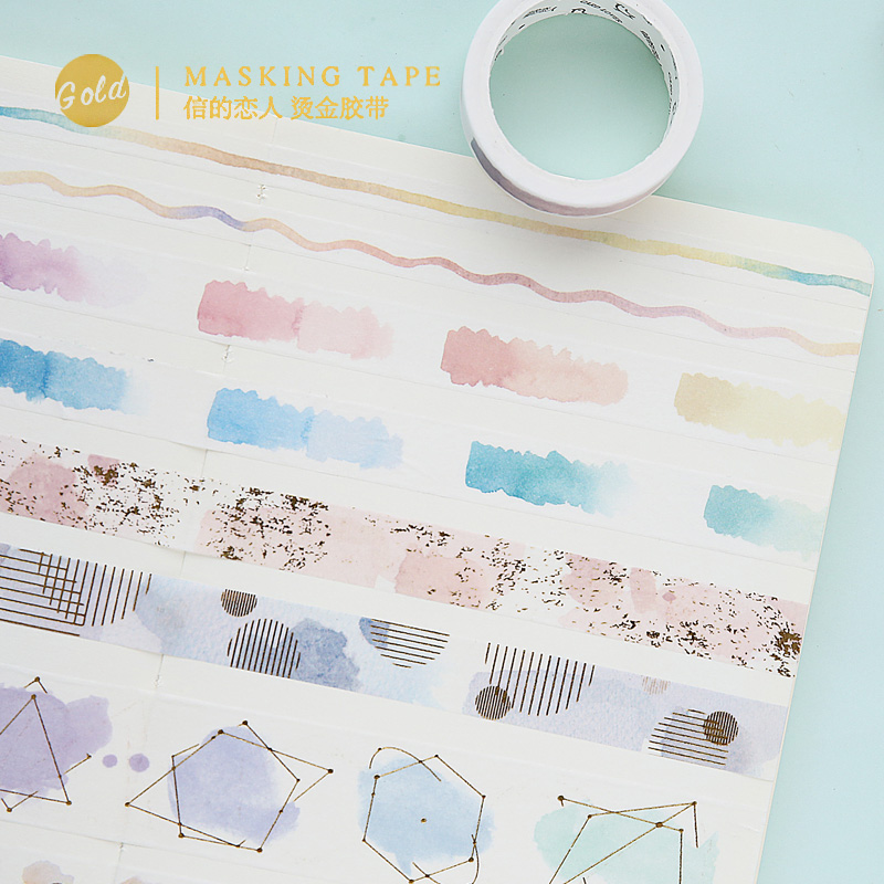new watercolor gilding washi tape DIY decoration scrapbooking planner masking tape adhesive tape label sticker stationery 10m 15mm creative colored dots washi tape diy decoration scrapbooking planner masking tape kawaii stationery adhesive tape 1 pcs