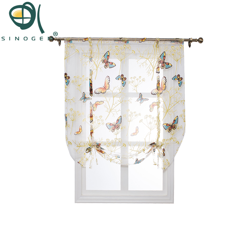 Sinogem tulle fabrics short curtains short kitchen curtains roman blinds butterfly design window treatments sheer curtain modern
