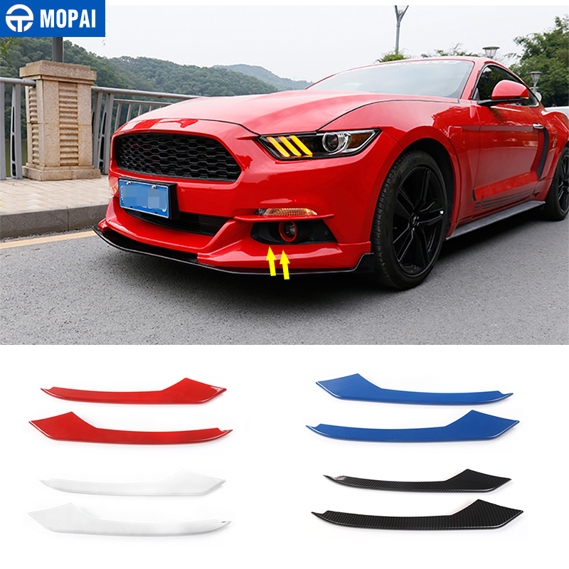 MOPAI Car Styling Exterior Front Fog Light Lamp Eyelid Eyebrow Strips Decoration Trim Cover Stickers for Ford Mustang 2015-2018 цена
