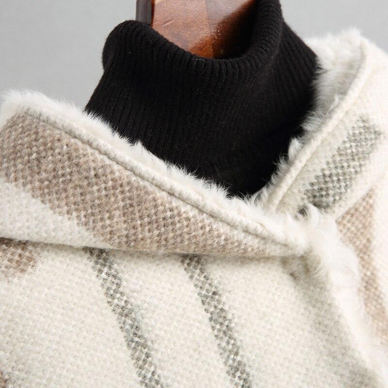 Capuchon Chaud Nouveau Automne Hiver Manteau Manteaux Vêtements À Véritable Vestes Doublure Kj899 Coréen Laine De Veste Beige 2018 Fourrure Femmes Survêtement w0qwga