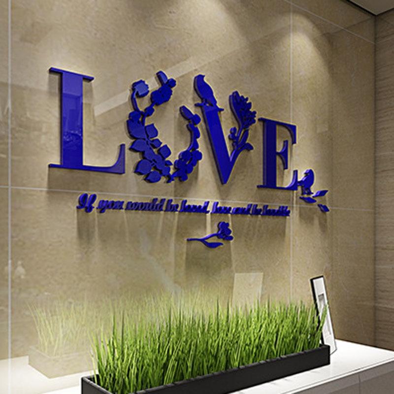 Съемный 3D листьев любовь стены Стикеры Книги по искусству акрил DIY наклейки дома Украшения в спальню TB распродажа