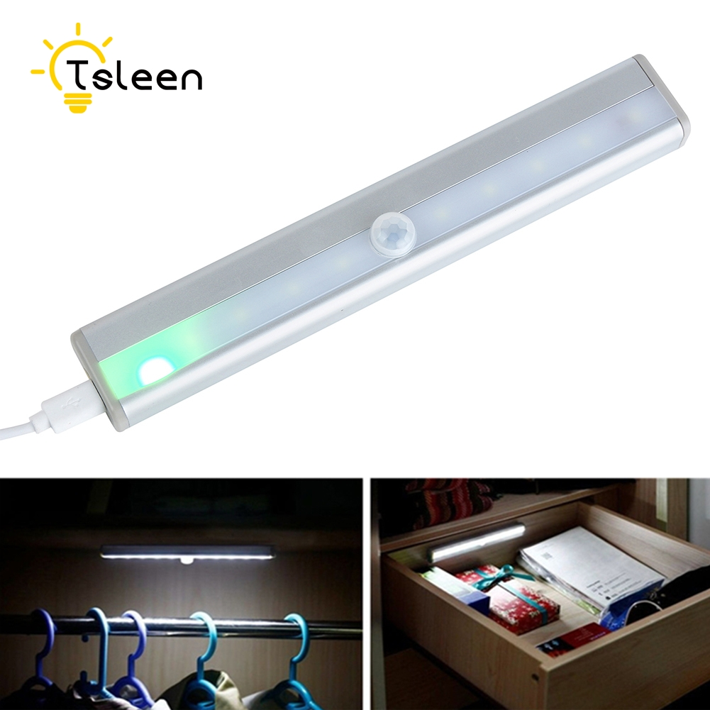 TSLEEN Free Shipping! Wireless Pir Motion Sensor LED Cupboard Shed Garage Light Under Cabinet White Rechargeable LED Night Lamp tsleen 1x cabinet pir motion sensor led cupboard shed garage light usb battery powered