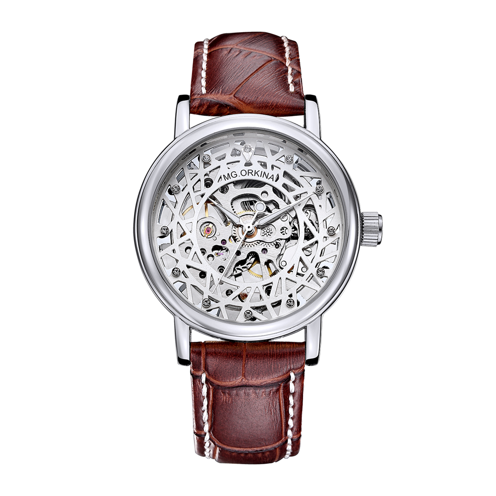 New Hot Sale Skeleton Fashion Mechanical Men Watch ORKINA Luxury Branded Business Leather Strap Wristwatch mg  orkina leather strap skeleton