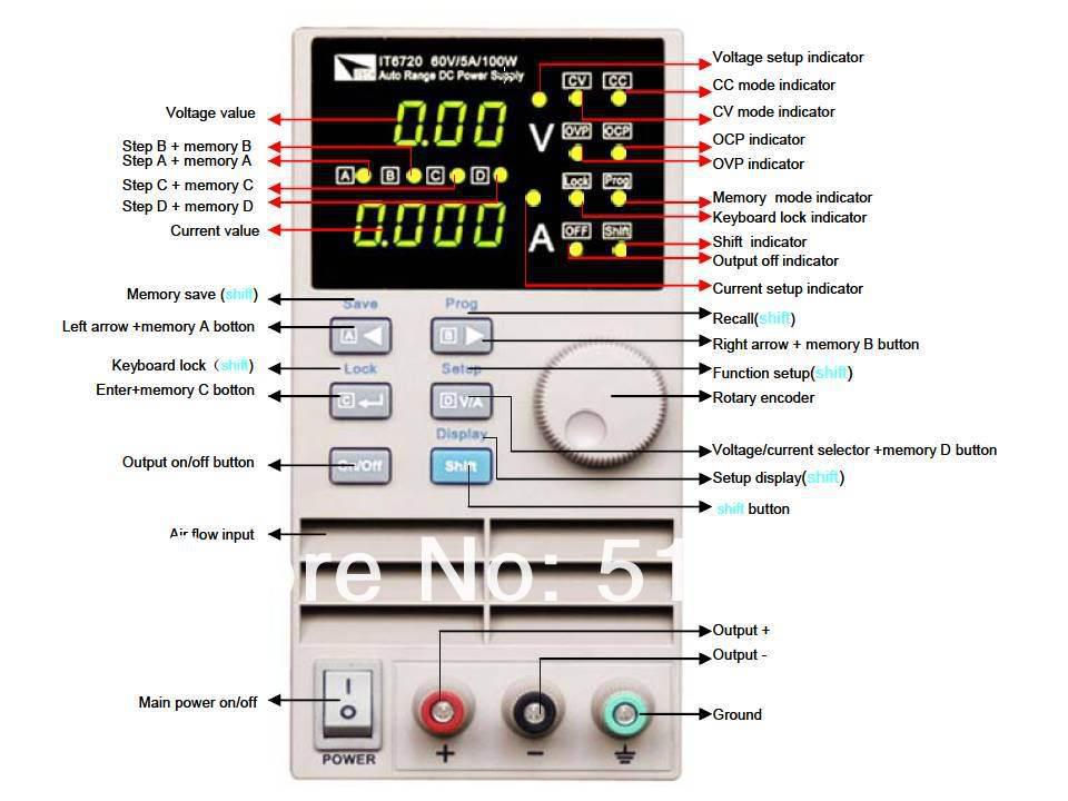 Contrôle numérique, programmation de l'alimentation cc IT6720 à sortie unique 60 V/5A/100 W