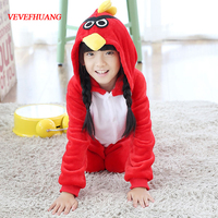 VEVEFHUANG Flannel Pyjamas Kids Onesie Cartoon Cosplay Red Bird Girls Christmas Children Pajamas Long Sleeve Boys