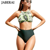 JABERAI Green Print High Neck Bikini Set 2018 Push Up Swimwear Women Beach Bathing Suit High