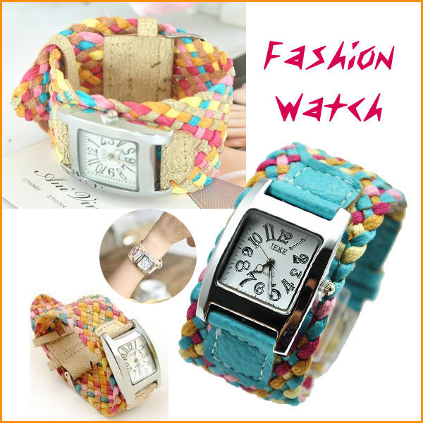 New Korea  Fashion Color Rope Braided Leather Band Lady Bracelet Wrist Braid Promotional Gifts Watch