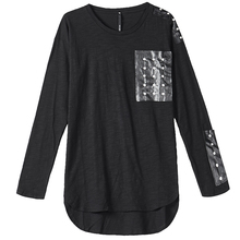 Punk Studded Cotton T-Shirt Nightclub Tide Mens Autumn Dark Black Round Neck Slim Long Sleeve