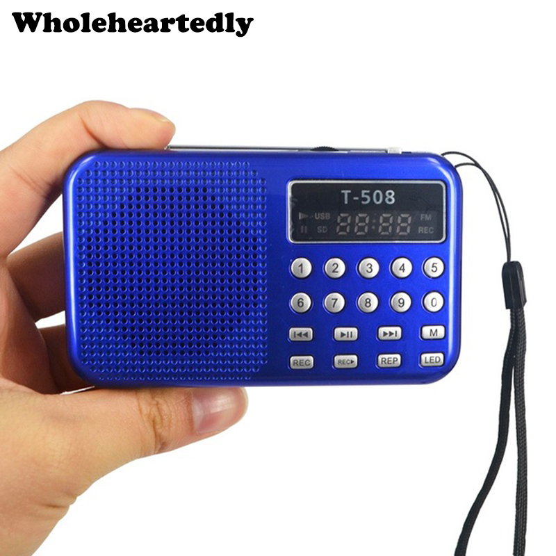 Panel de pantalla LED digital Estéreo Radio FM Altavoz Mini portátil de doble banda Recargable USB TF mirco para tarjeta SD Reproductor de música MP3