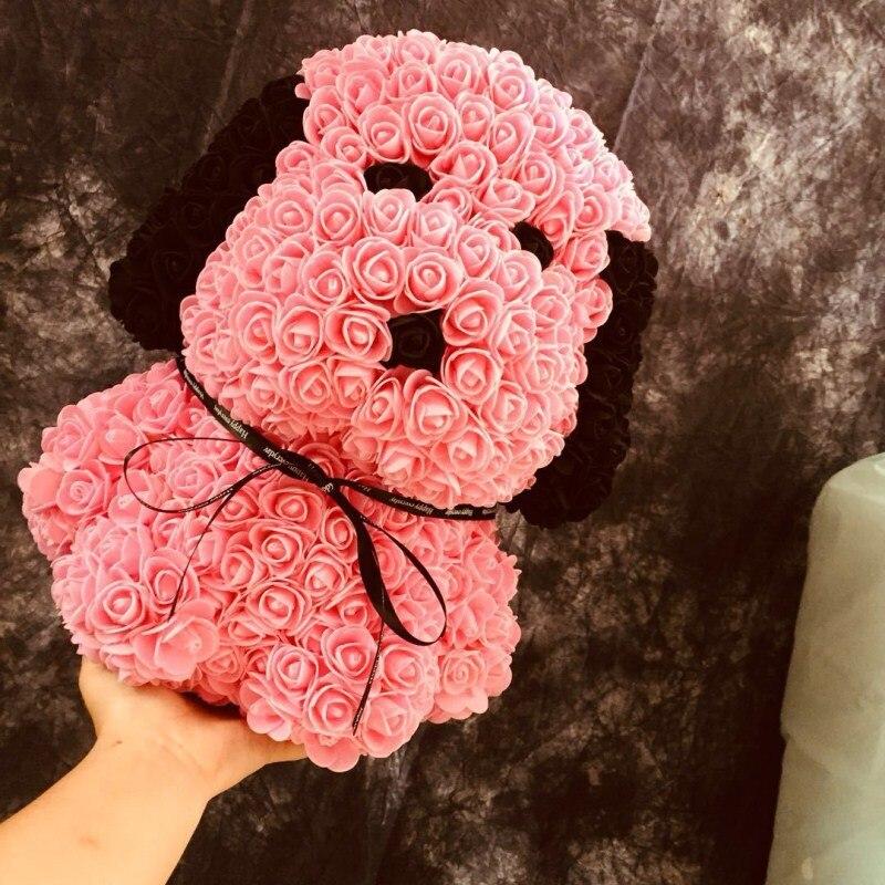 Personnalisé fait à la main qixi cadeau chiot PE mousse rose carlin immortel fleur cadeau boîte pour la saint-valentin livraison gratuite - 2