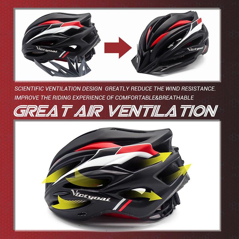 VICTGOAL Bicycle Helmet LED Backlight For Man Ultralight Bike Helmets Visor Integrally Molded Mountain Road Cycling MTB Helmet