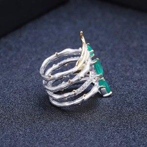 Image 5 - باليه من GEMS خاتم كلاسيكي من الفضة الإسترلينية عيار 925 على الطراز القوطي 2.26Ct خواتم للأصابع من الأحجار الكريمة بالعقيق الأخضر الطبيعي للنساء مجوهرات راقية