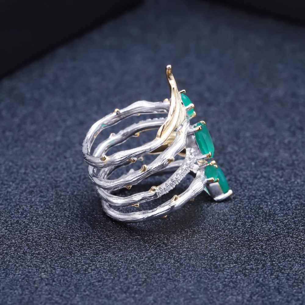 GEM'S балет стерлингового серебра 925 Винтаж нео-готическое кольцо 2.26Ct Природный зеленый агат драгоценный камень кольцо на палец для женщин ювелирные украшения