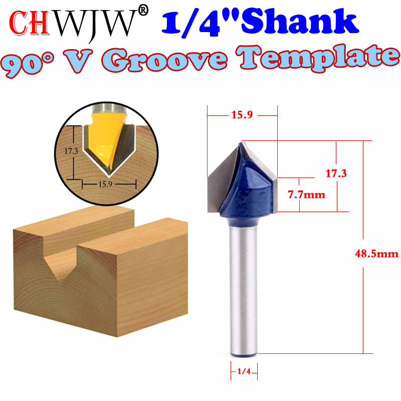 1pcs 14 Shank 90 Degree V Groove Template Router Bit