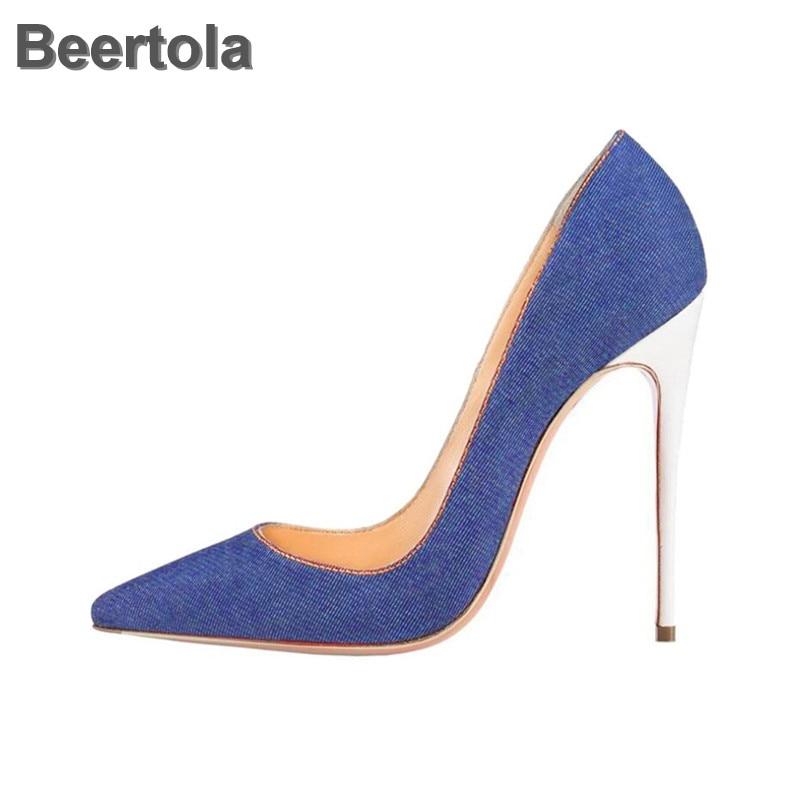 Chaussures en Denim femme talon haut pompes concises bout pointu femmes chaussures confortables printemps automne sans lacet robe de soirée peu profonde pompes