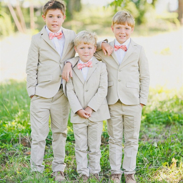 Новый 2015 летний пляжные мальчики свадьба с одежды с + брюки + жилет + галстук красиво дети смокинг костюмы дешевые одежда
