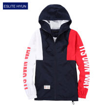 2017 New Spring Autumn Men's Jackets hooded Patchwork zipper Fashion Coats Male Casual Jacket Men red blue student Windbreaker