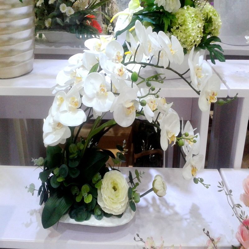 2pcs Real Touch Pu Latex Artificial Orchid Flower Wedding Home