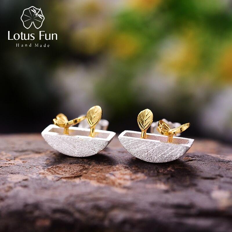 Lotus Fun Real 925 Sterling Silver Earrings Creative Handmade Fine Jewelry My Little Garden Stud Earrings For Women Gift Brincos
