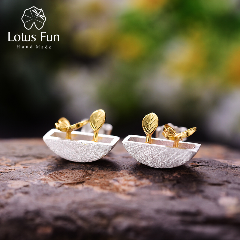 цена на Lotus Fun Real 925 Sterling Silver Natural Style Creative Handmade Fine Jewelry My Little Garden Stud Earrings for Women Brincos