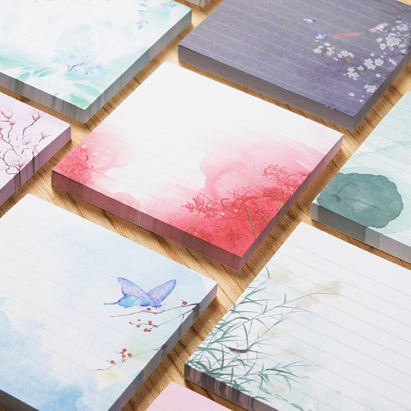 Exclusive Natural Flowers Self-adhesive Memo Pad Cute Painted Sticky Notes Sticker Label Escolar Papelaria School Office Supply