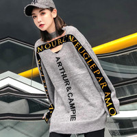 2019 Spring Fashion Grey Letter Sweater Women Hollow Out V Neck Casual Pullovers Streetwear