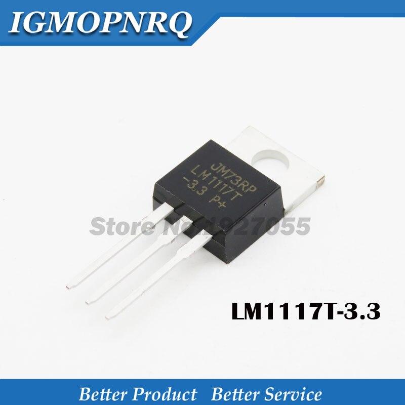 10 pces LM1117T-3.3 to220 LM1117-3.3 lm1117t 3.3 v lm1117 a-220 regulador de tensão baixo 3.3 v chip ic step-down