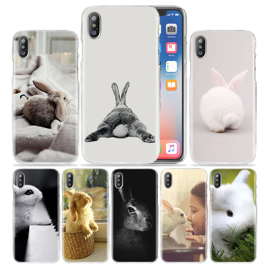 Animal Case for iPhone XS Max XR X 10 7 7S 8 6 6S Plus 5S SE 5 4S 4 5C Clear Hard 11 Phone Cover Coque Cute White Baby Rabbits