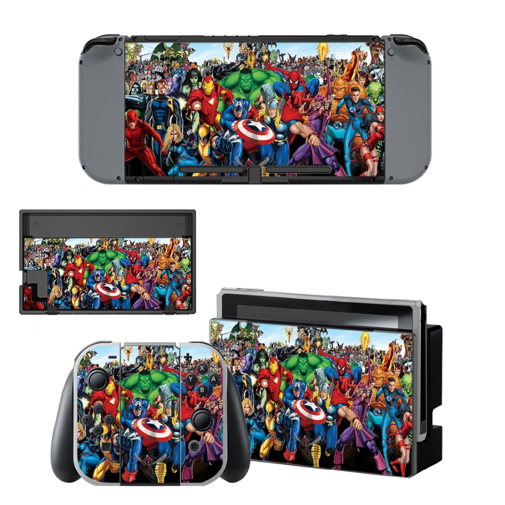 Nintend Switch Vinyl Skins Sticker For Nintendo Switch Console and Controller Skin Set -Marvel's The Avengers