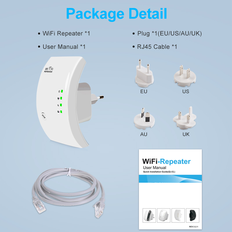 Wireless Wifi Repeater 300Mbps WiFi Amplifier Wi-Fi Long Signal Range Extender Wi Fi Booster 802.11N/B/G Repeater Access Point 6