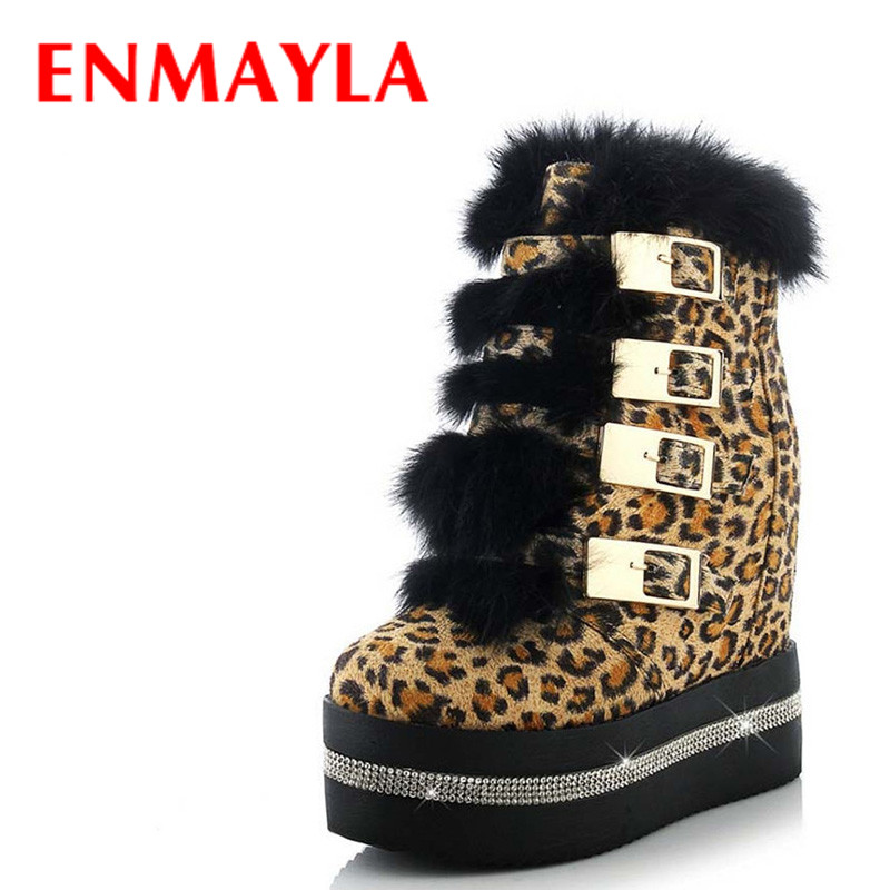 ENMAYLA Leopard Sexy Wedges Women Boots Shoes Round Toe Buckle Strap High Boots Winter Platform Ankle