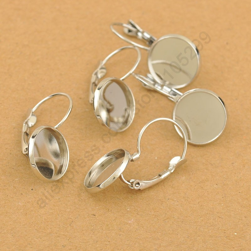 50PCS White  925 Silver Lever Back Earwires Jewelry Earring DIY Making Accessories Finding Accessories For Crystal 12mm