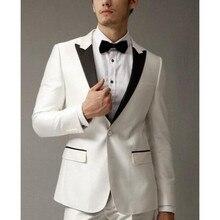 Custom Made Hot Cheap Black Lapel Business Men Suits 2 Pieces Groomsman Wear Wedding Tuxedo For Men Business Suits (Jacket+Pant)