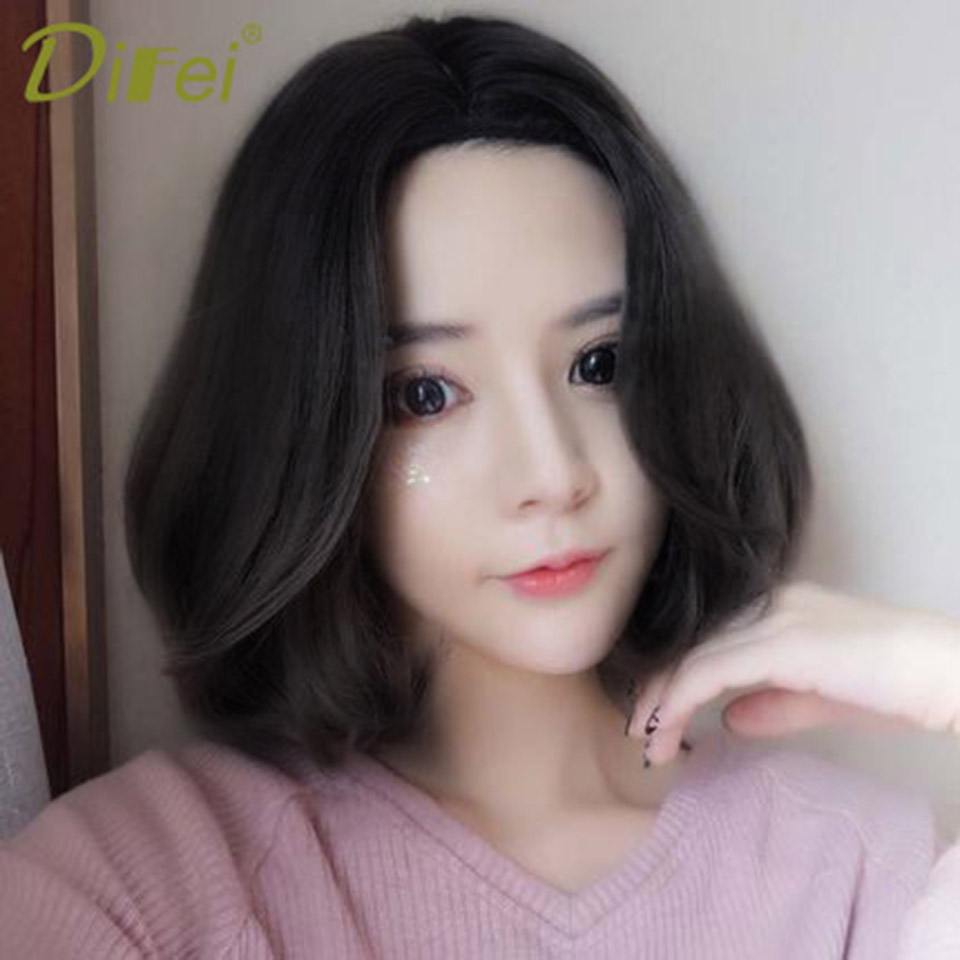 DIFEI Bob Short Hair Homemade High Temperature Fiber Synthetic Lady Hair Extension Clip Halloween Party Wig